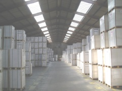 Pallets of paper in store